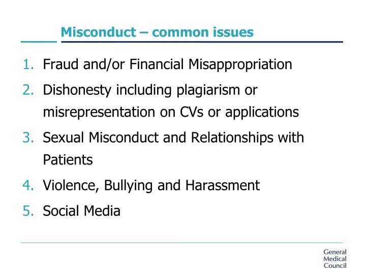 Misconduct – common issues