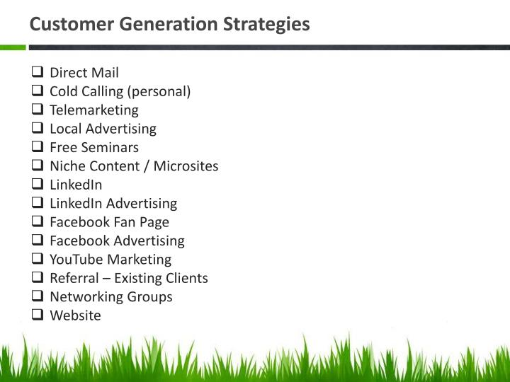 Customer Generation Strategies