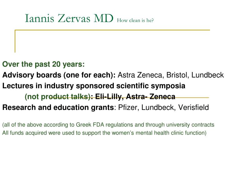 Iannis zervas md how clean is he