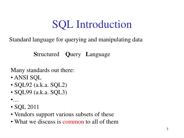 database/ implementation - structured query language (sql) Sql, or structured query language, is a language used by relational database management systems (rdbmses) for defining data structures, updating data, and querying data the vast majority of relational database systems use some form of sql, making sql database and relational database effectively synonymous in everyday conversation.
