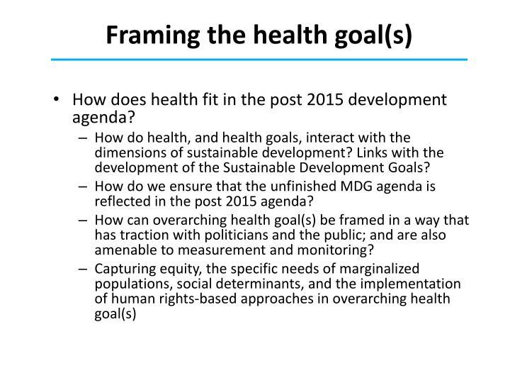 Framing the health goal(s)