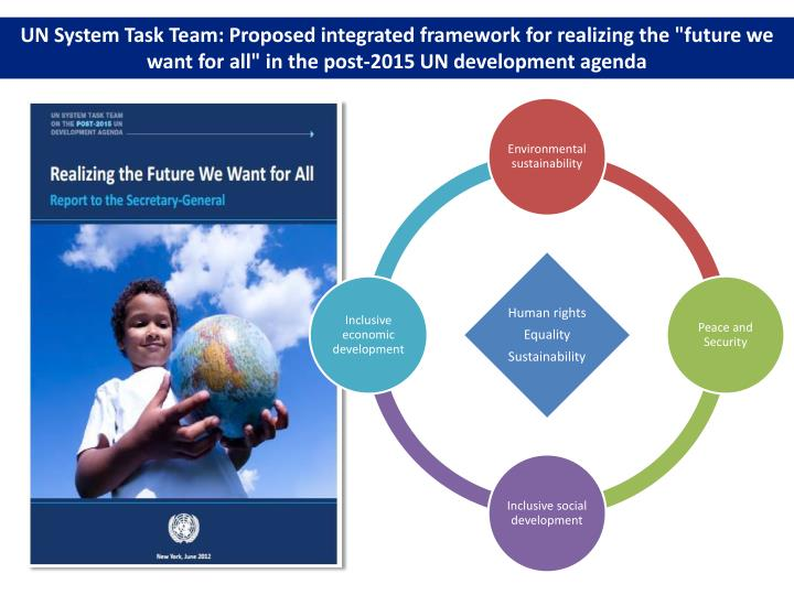 """UN System Task Team: Proposed integrated framework for realizing the """"future we want for all"""" in the post-2015 UN development agenda"""