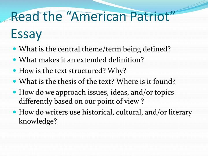 what patriot essays Patriot essays: over 180,000 patriot essays, patriot term papers, patriot research paper, book reports 184 990 essays, term and research papers available for.