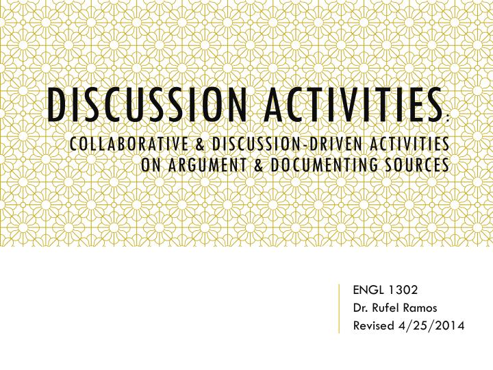 discussion activities collaborative discussion driven activities on argument documenting sources n.