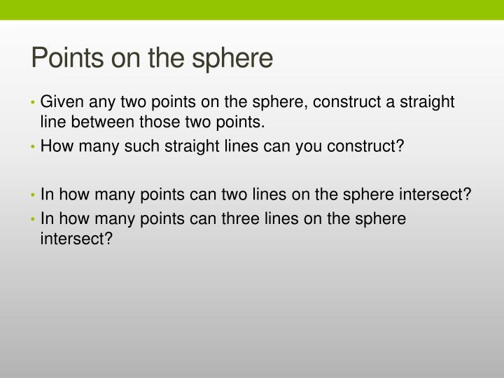 Points on the sphere