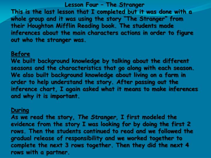Lesson Four – The Stranger