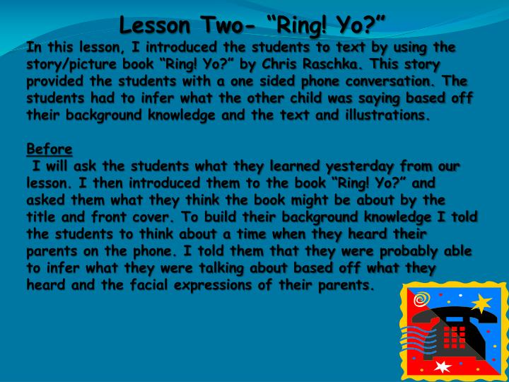 "Lesson Two- ""Ring! Yo?"""