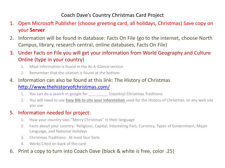 coach dave s country christmas card project n.