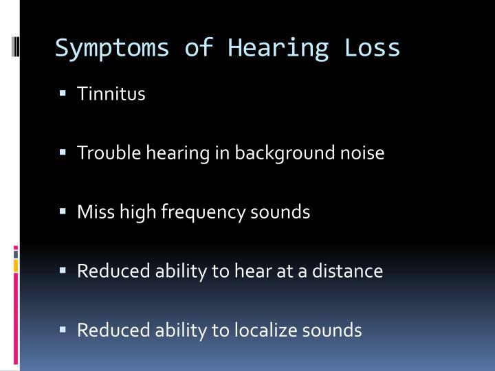 Symptoms of Hearing Loss