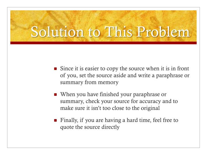 Solution to This Problem