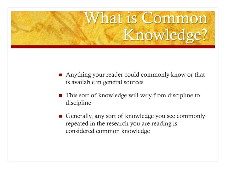 What is Common Knowledge?