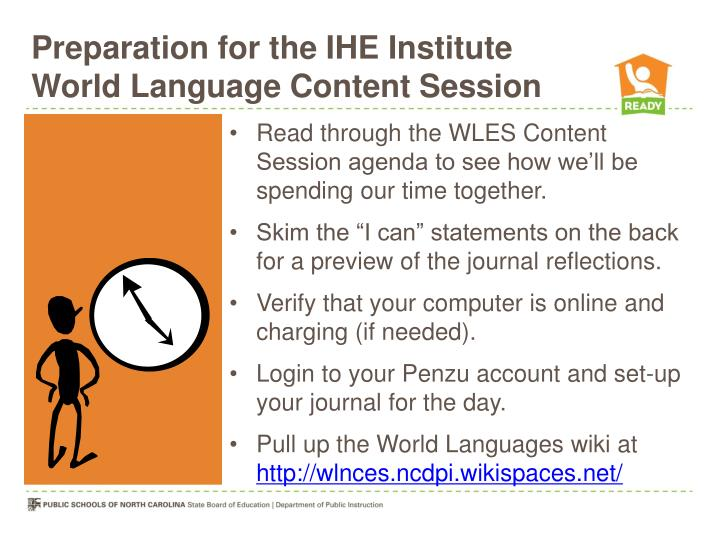 preparation for the ihe institute world language content session n.