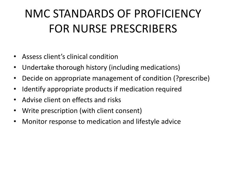 NMC STANDARDS OF PROFICIENCY FOR NURSE PRESCRIBERS