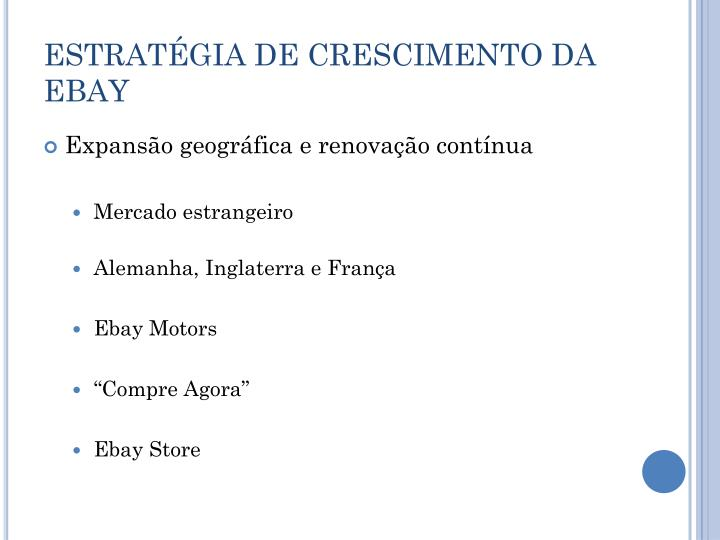 ESTRATÉGIA DE CRESCIMENTO DA EBAY
