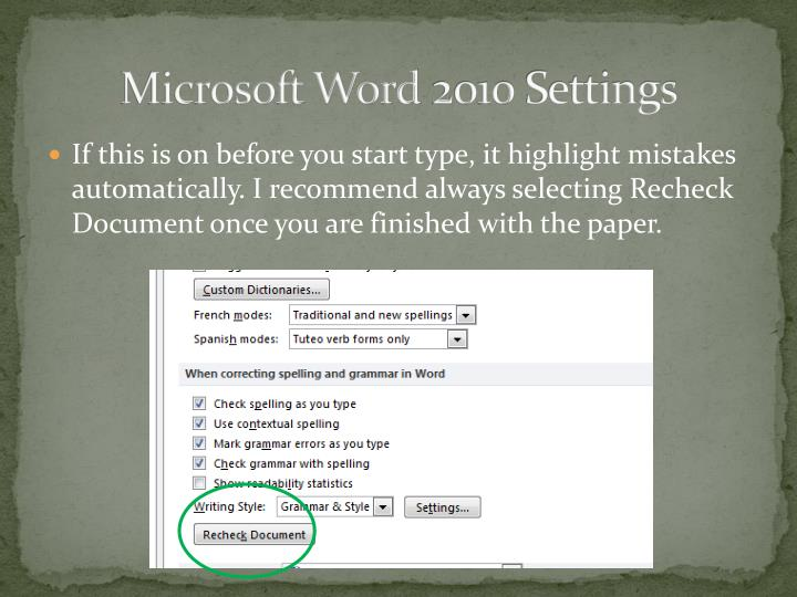 Microsoft Word 2010 Settings
