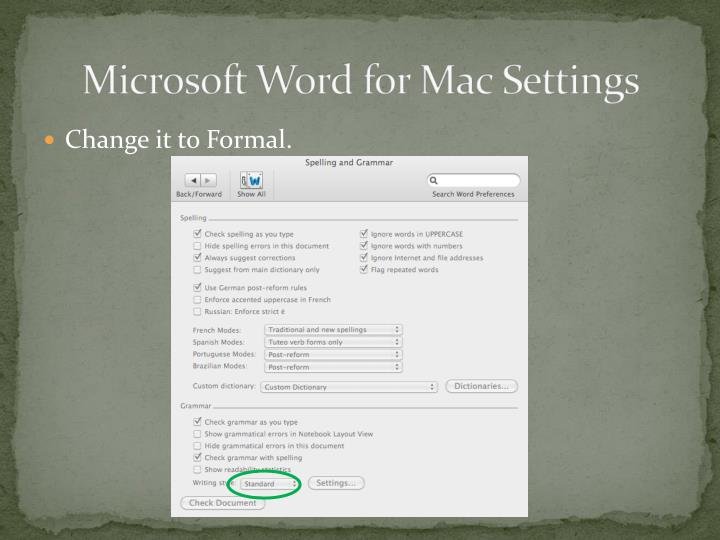 Microsoft Word for Mac Settings