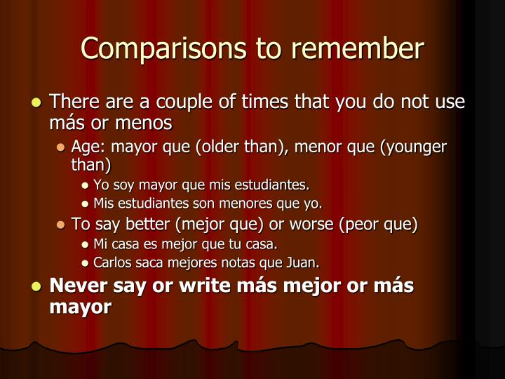 Comparisons to remember