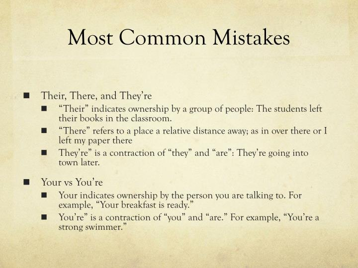 Most Common Mistakes