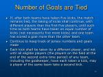 number of goals are tied
