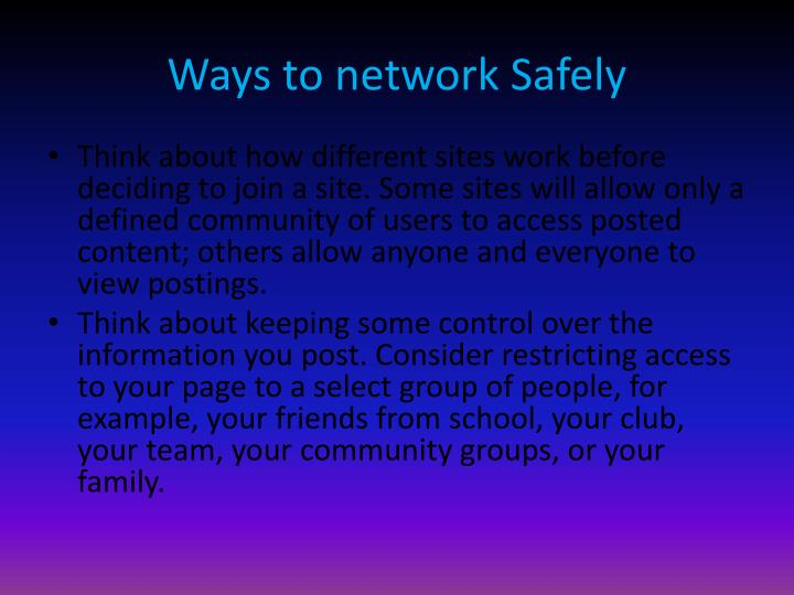 Ways to network Safely