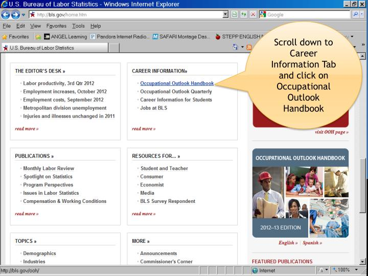 Scroll down to Career Information Tab and click on Occupational Outlook Handbook