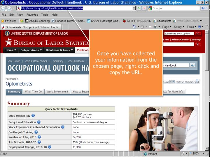 Once you have collected your information from the chosen page, right click and copy the URL.