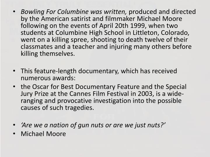 film techniques used in bowling for columbine