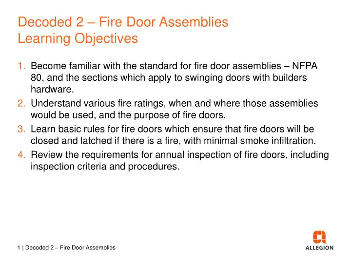 decoded 2 fire door assemblies learning objectives n.