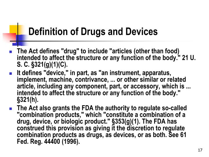 Definition of Drugs and Devices