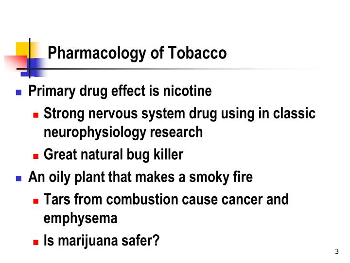 Pharmacology of tobacco