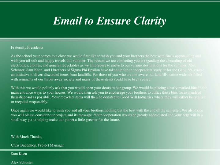 Email to Ensure Clarity