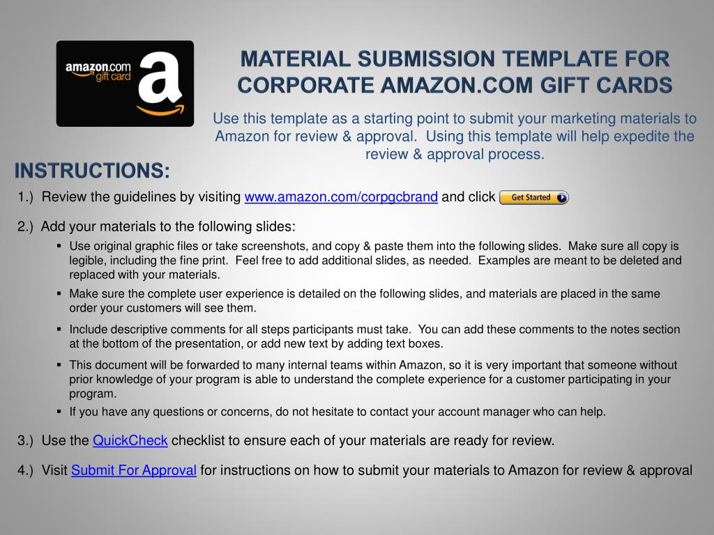 Ppt Material Submission Template For Corporate Amazon Com Gift Cards Powerpoint Presentation Id 1845450