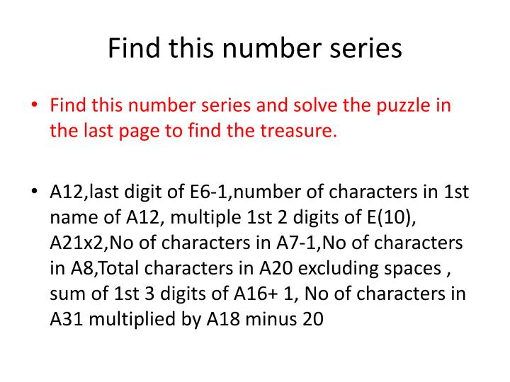 Find this number series
