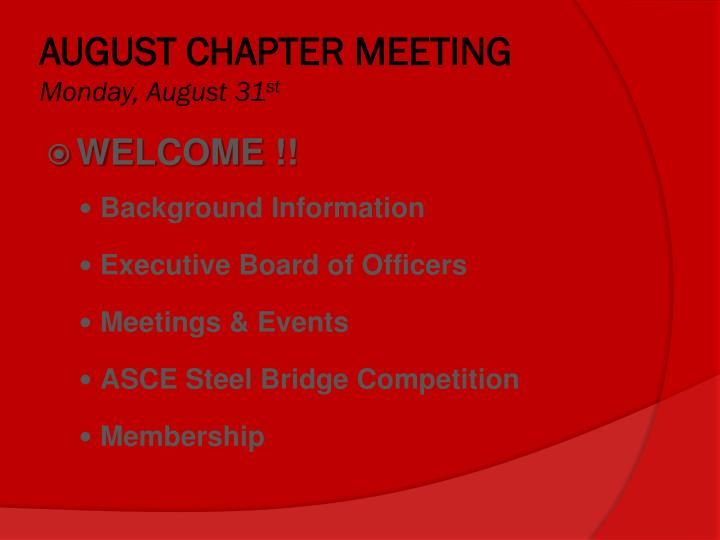 August chapter meeting monday august 31 st