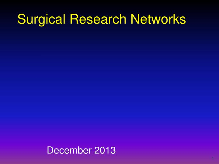 surgical research networks n.