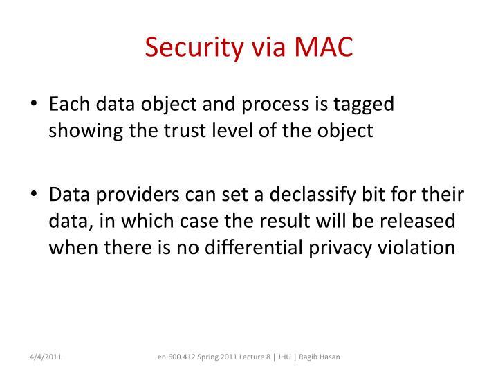 Security via MAC
