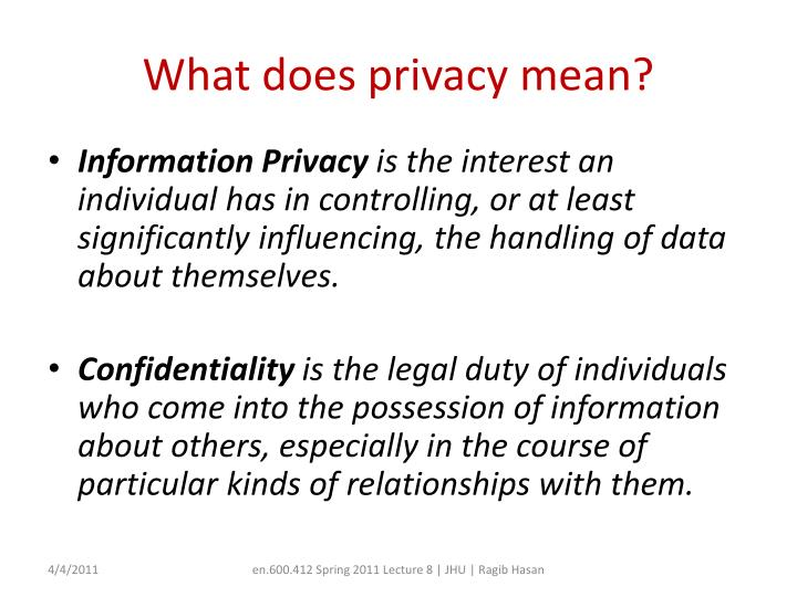 What does privacy mean?