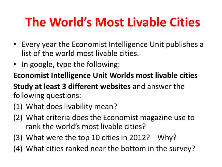 The World's Most Livable Cities