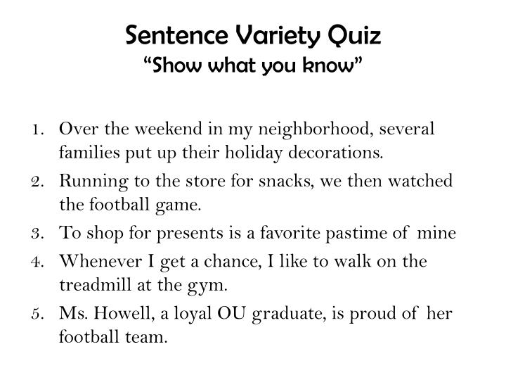 sentence variety quiz show what you know n.