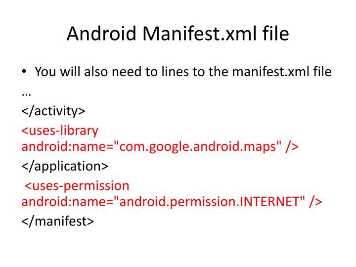 Android Manifest.xml file