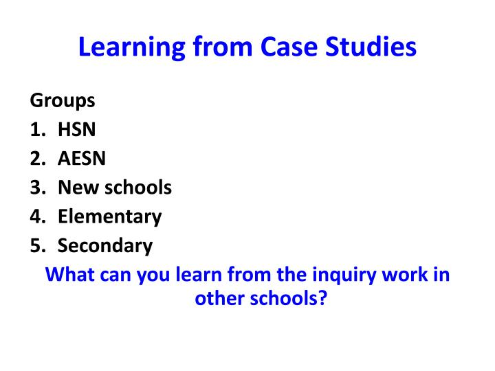 Learning from case studies