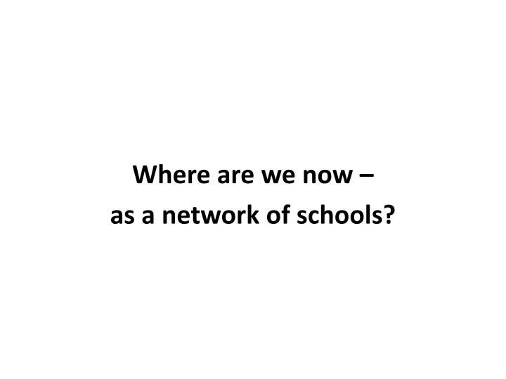 Where are we now –