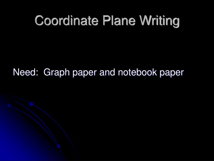 Coordinate Plane Writing