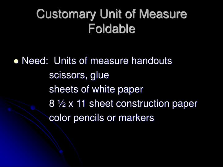 Customary Unit of Measure Foldable