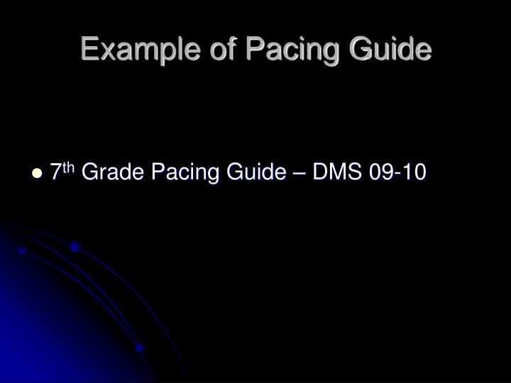 Example of Pacing Guide