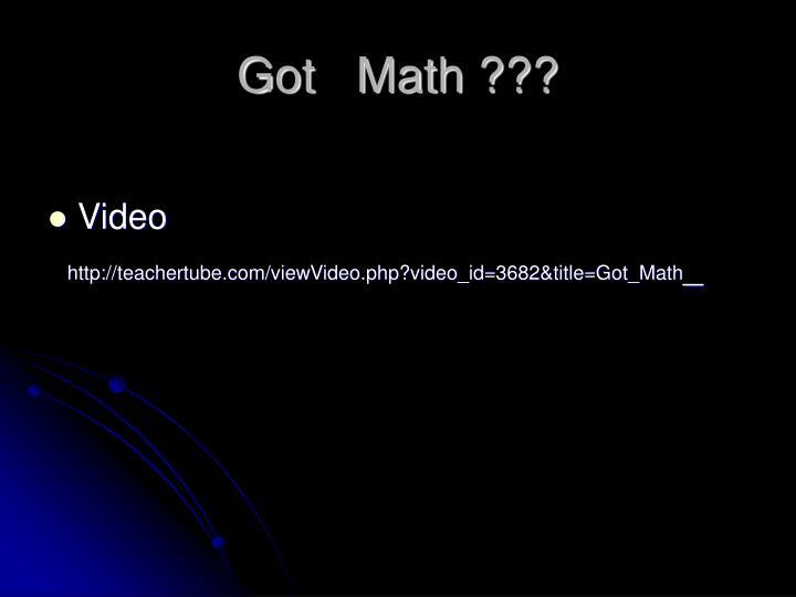 Got   Math ???
