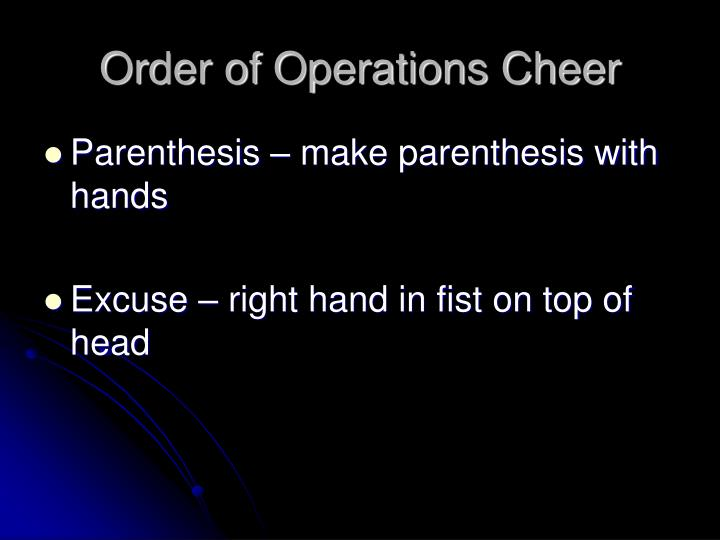Order of Operations Cheer