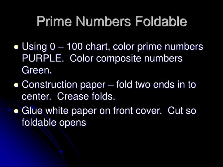Prime Numbers Foldable