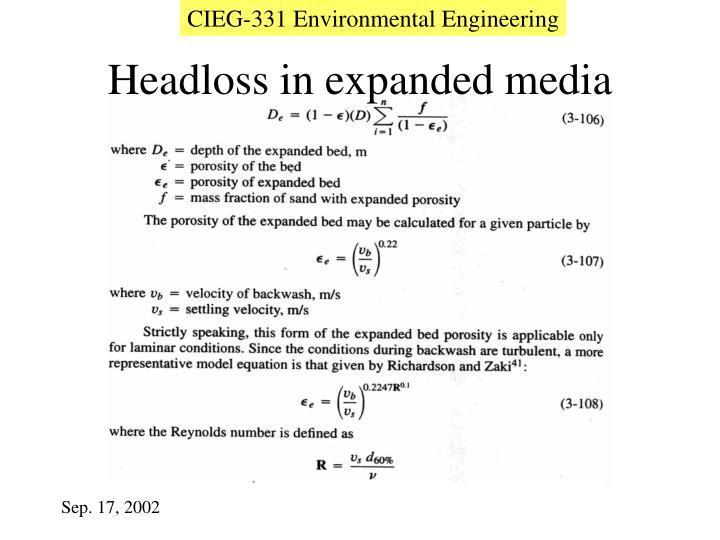 Headloss in expanded media