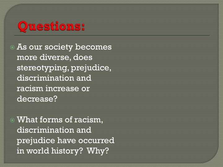 the issue of discrimination and prejudice in america 10102018 11 facts about racial discrimination   arrested for drug-related offenses in america  educate others on racism and reduce prejudice in your.